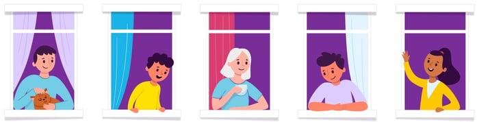 window illustration - 5x1 old purple